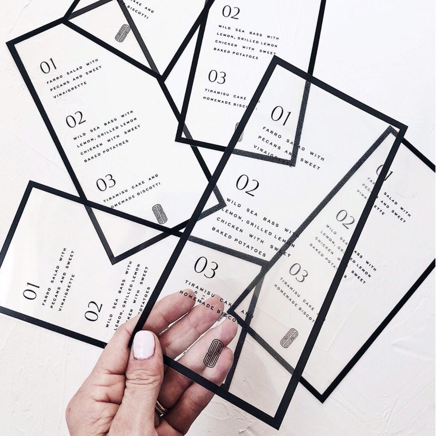 clear film wedding menu design - modern wedding stationery, modern