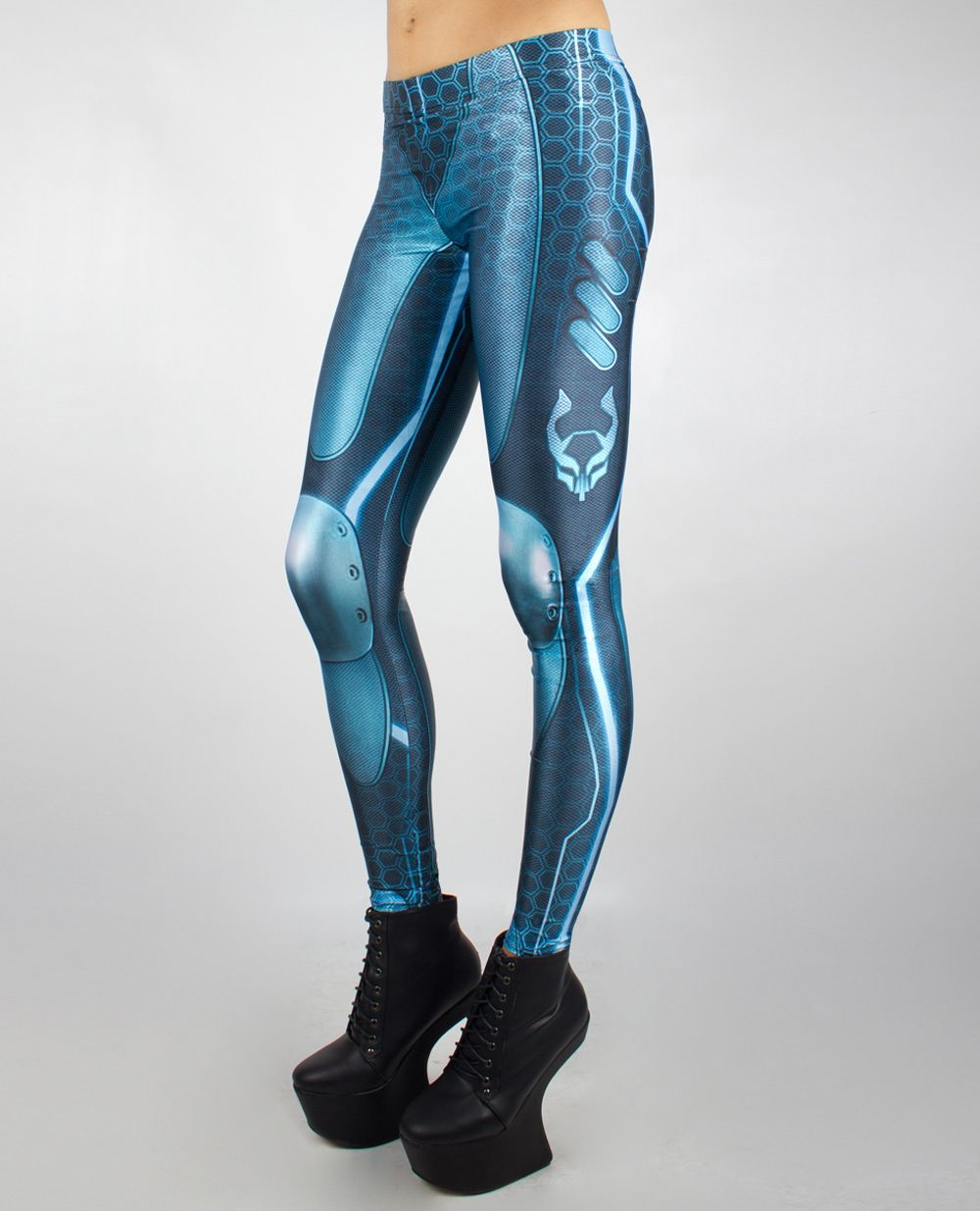 CyberPunk Leggings Organic Cotton Pants Alternative Fashion OFFRANDES High Waist Mesh Tights