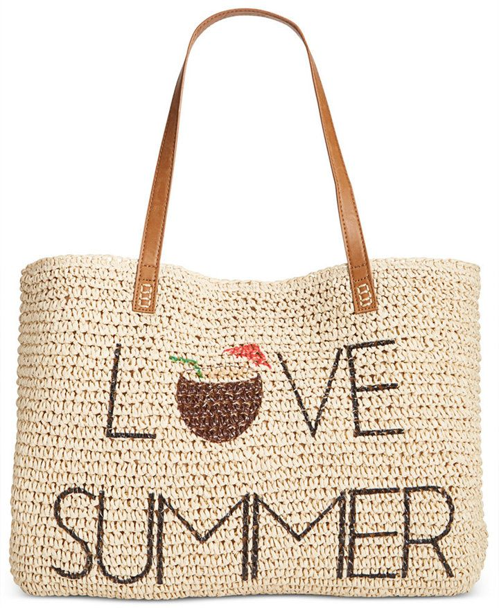 LOVE SUMMER - with pina colada's! STYLE & CO LOVE SUMMER STRAW BEACH BAG, ONLY AT MACY'S #affiliatelink