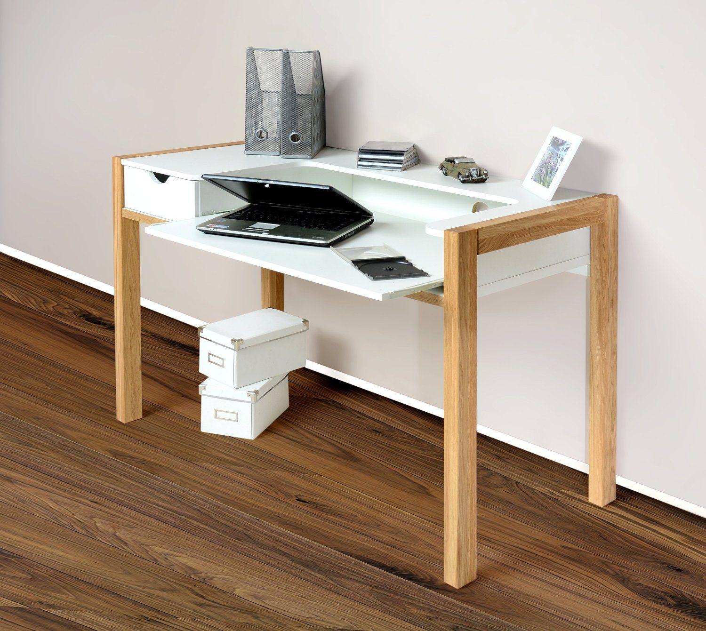 1190 schreibtisch pc tisch arbeitstisch sekret r wei f e eiche massiv holz k che. Black Bedroom Furniture Sets. Home Design Ideas