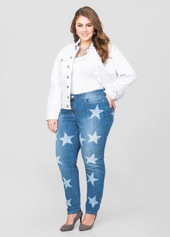 0227779fc05 Star Print Skinny Jean. Star Print Skinny Jean Trendy Plus Size Fashion ...