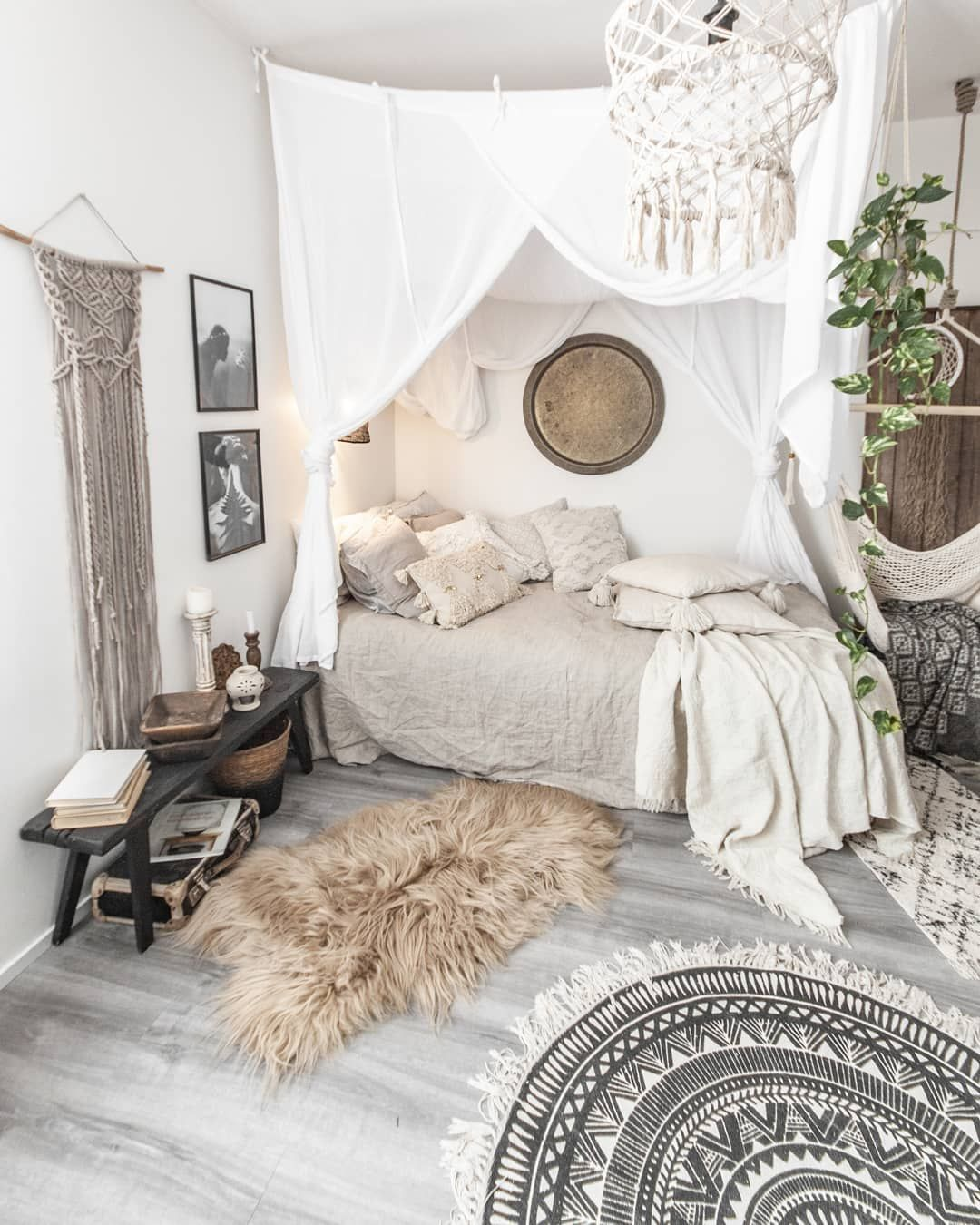Cozy Modern Homedecor: White Bedroom Interior With Bohemian Style Is Bright And