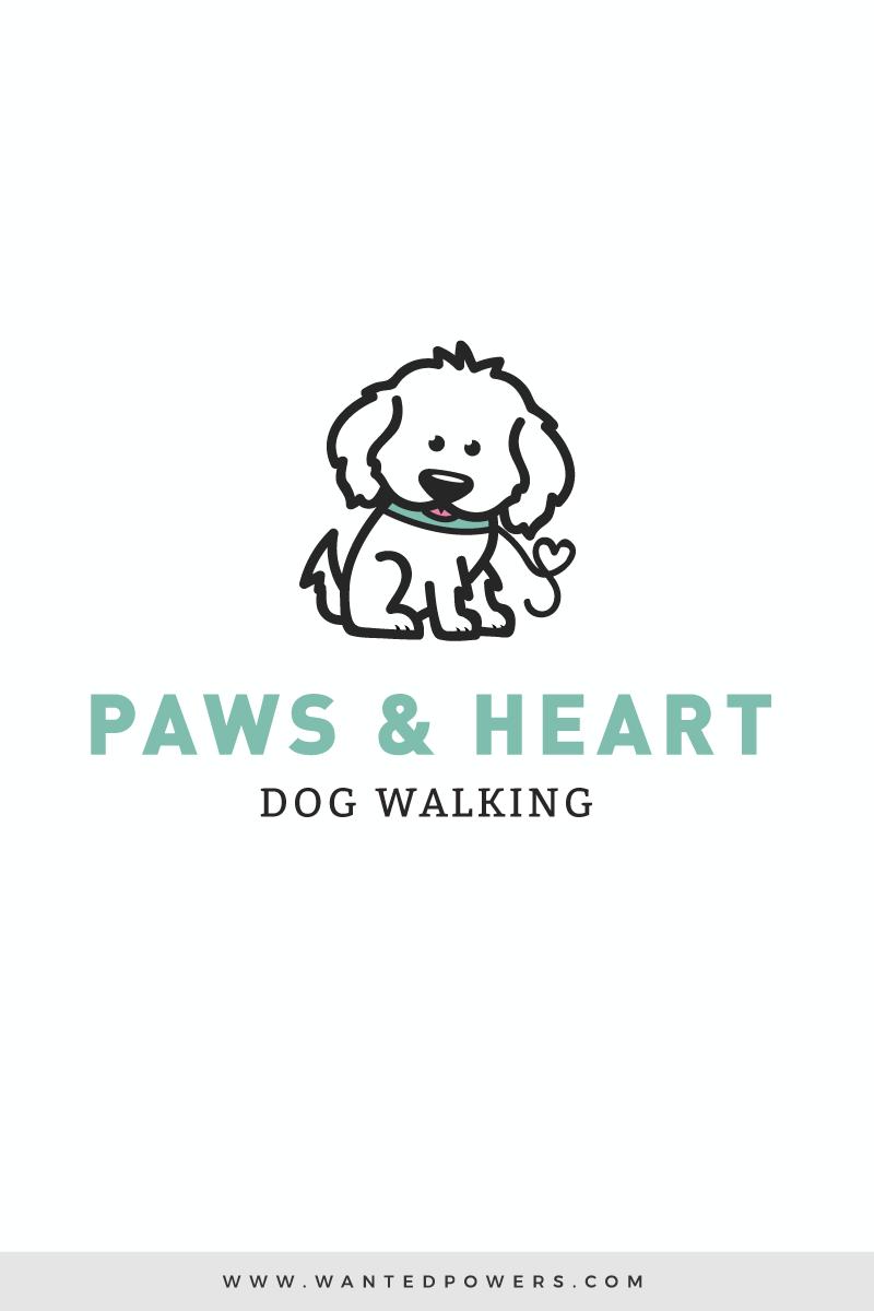 Heart Dog Walking Logo Custom Pre Made Logo Design Pet Etsy Dog Walking Logo Dog Logo Design Pet Logo Design