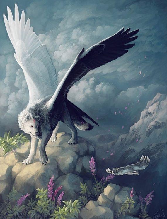 Loup ail animaux fantastiques surnaturels imaginaires - Dessin animaux fantastiques ...