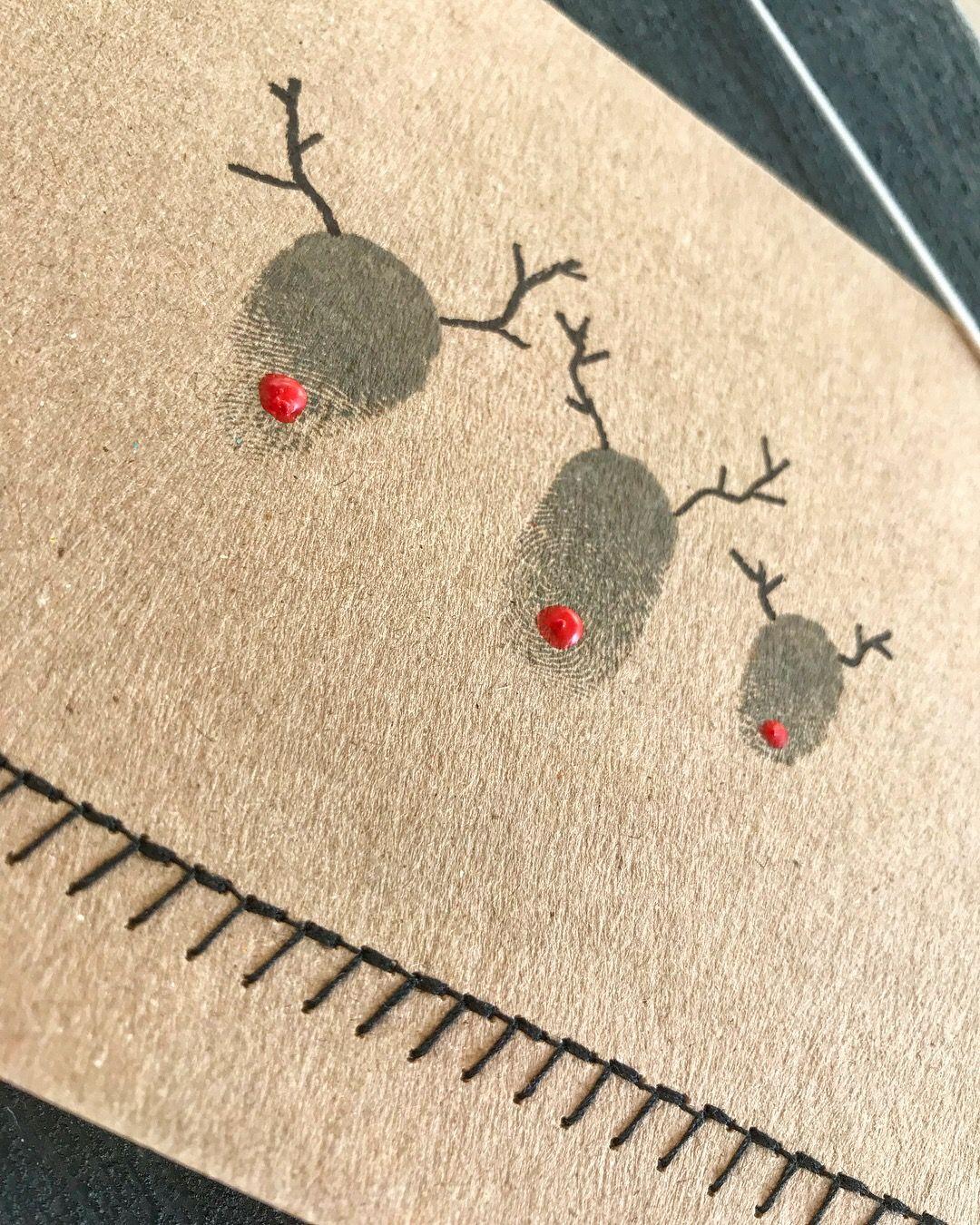 Weihnachtskarte diy kraftpapier Fingerprint Fingerabdruck Rentier ...