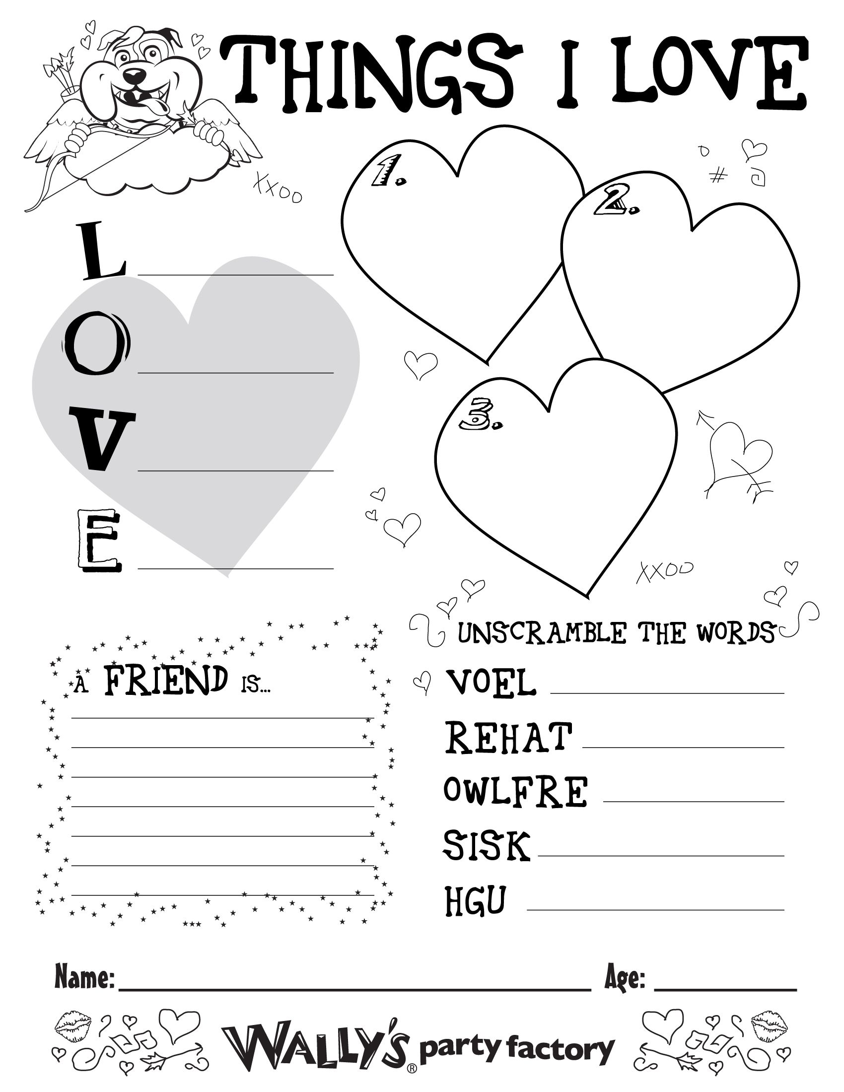 Valentine S Day Kids Activity Sheet Diy Classroom