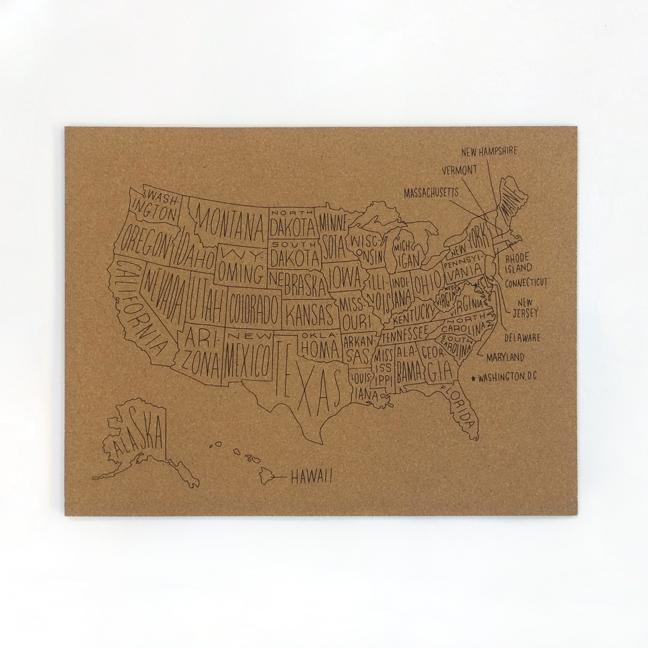 Easy, Tiger: Silk screened Cork Board U.S. Map. | typography ...