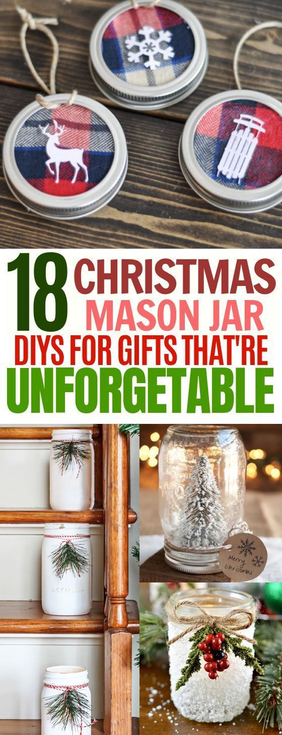 18 Adorable DIY Mason Jar Christmas Gifts and Decorations #homemadechristmasgifts