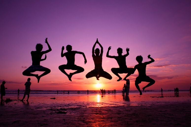 Take Photos In The Air With Some Friends Jump Doing A Crazy Pose Against Warm Sunset So You Get Silhouette Of Yourself