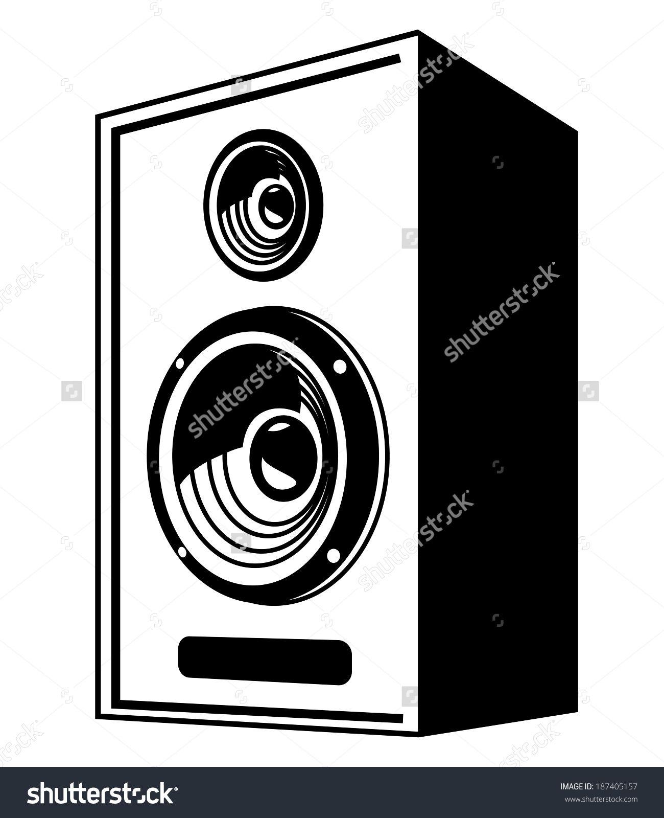 vector black speaker icon on white background stock
