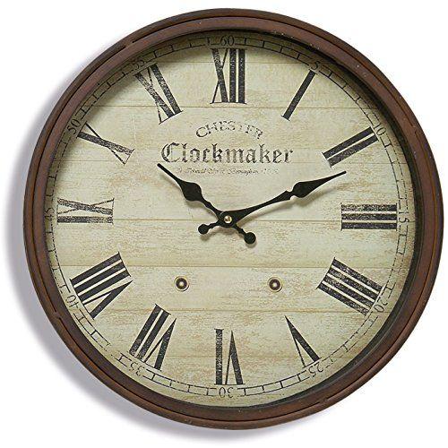 The Old English Chester Wall Clock Precise Quartz Movement Vintage Reproduction Rustic Metal Beveled Circular Frame 15 D In Rustic Wall Clocks Wall Clock Clock