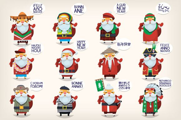 Santa Claus In Different Countries Santa Claus Is Coming To Town Santa Pictures Happy New Year Greetings
