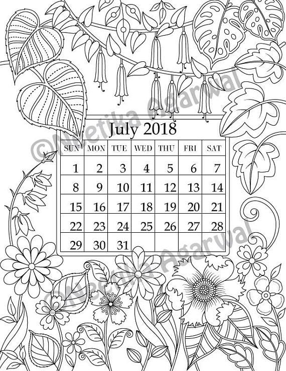 July 2018 coloring page calender planner doodle flowers instant download printable digital download only wall hangings planner doodles and bullet