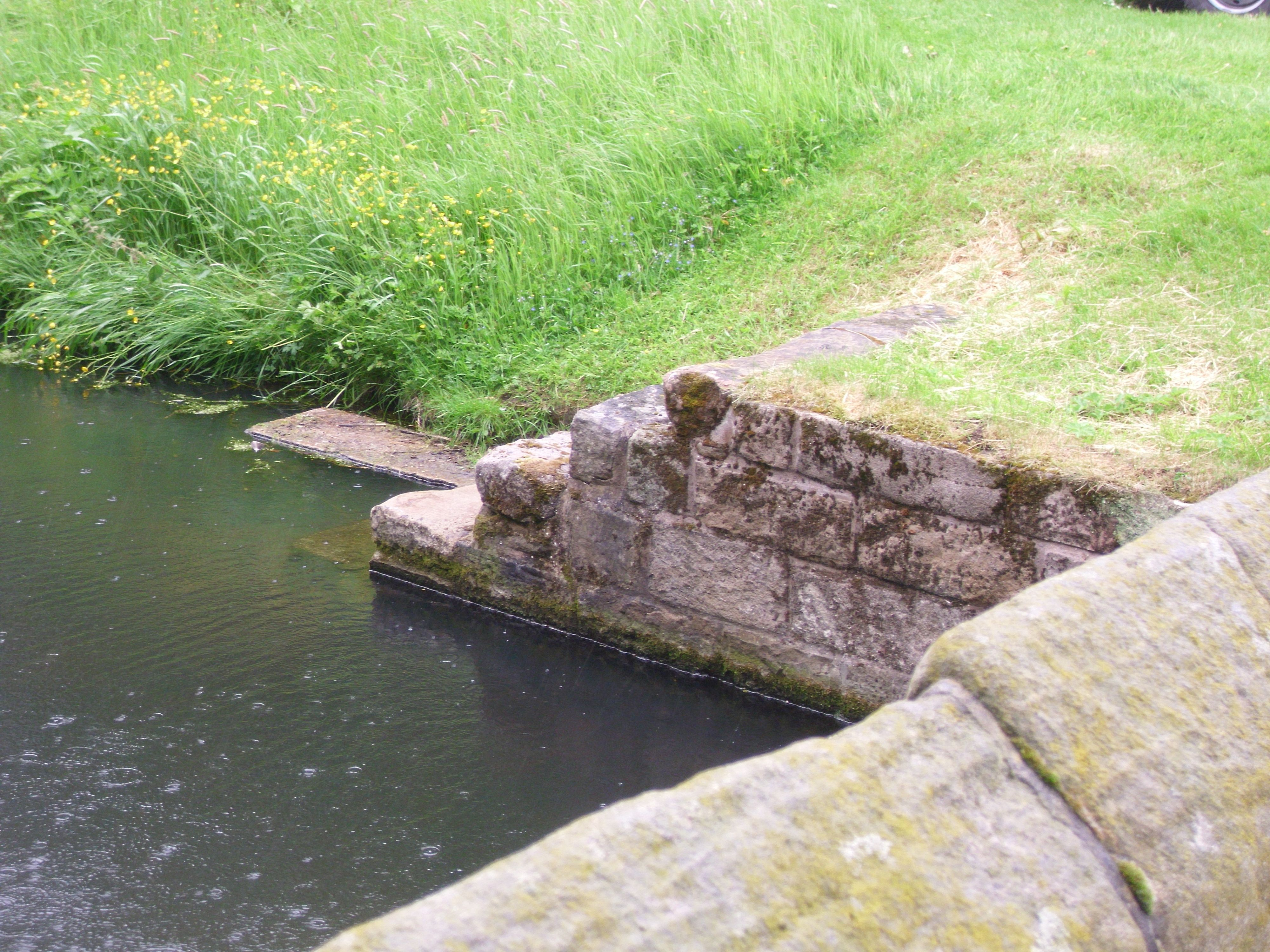 Steps down to the moat at Little Moreton Hall.