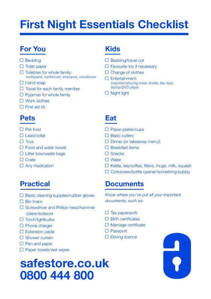 First night essentials checklist checklist essentials