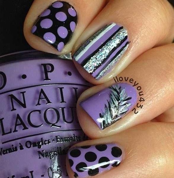 Purple Black Silver White Nail Art Polka Dots Lines Feather