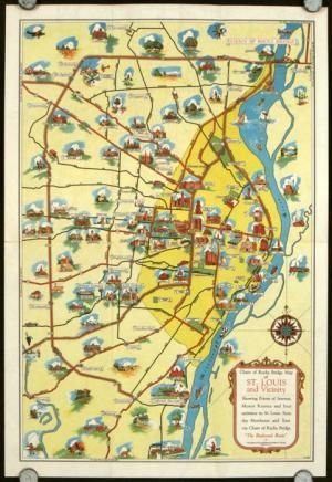 St. Louis And Main Routes thru Central United States. Chain of Rocks ...