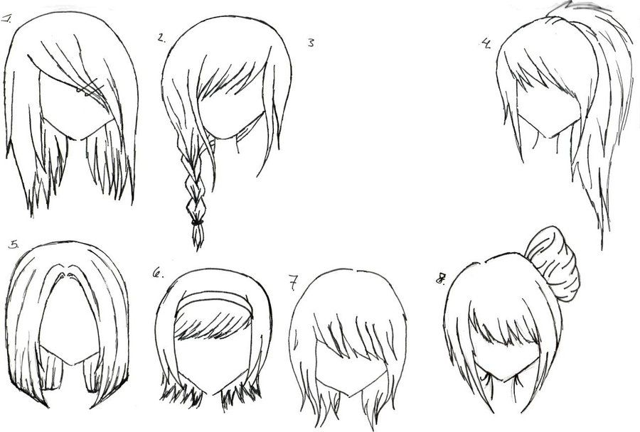 Female Anime Hair 2 By Alicewolfnas On Deviantart Anime Hair How To Draw Hair Hair Sketch