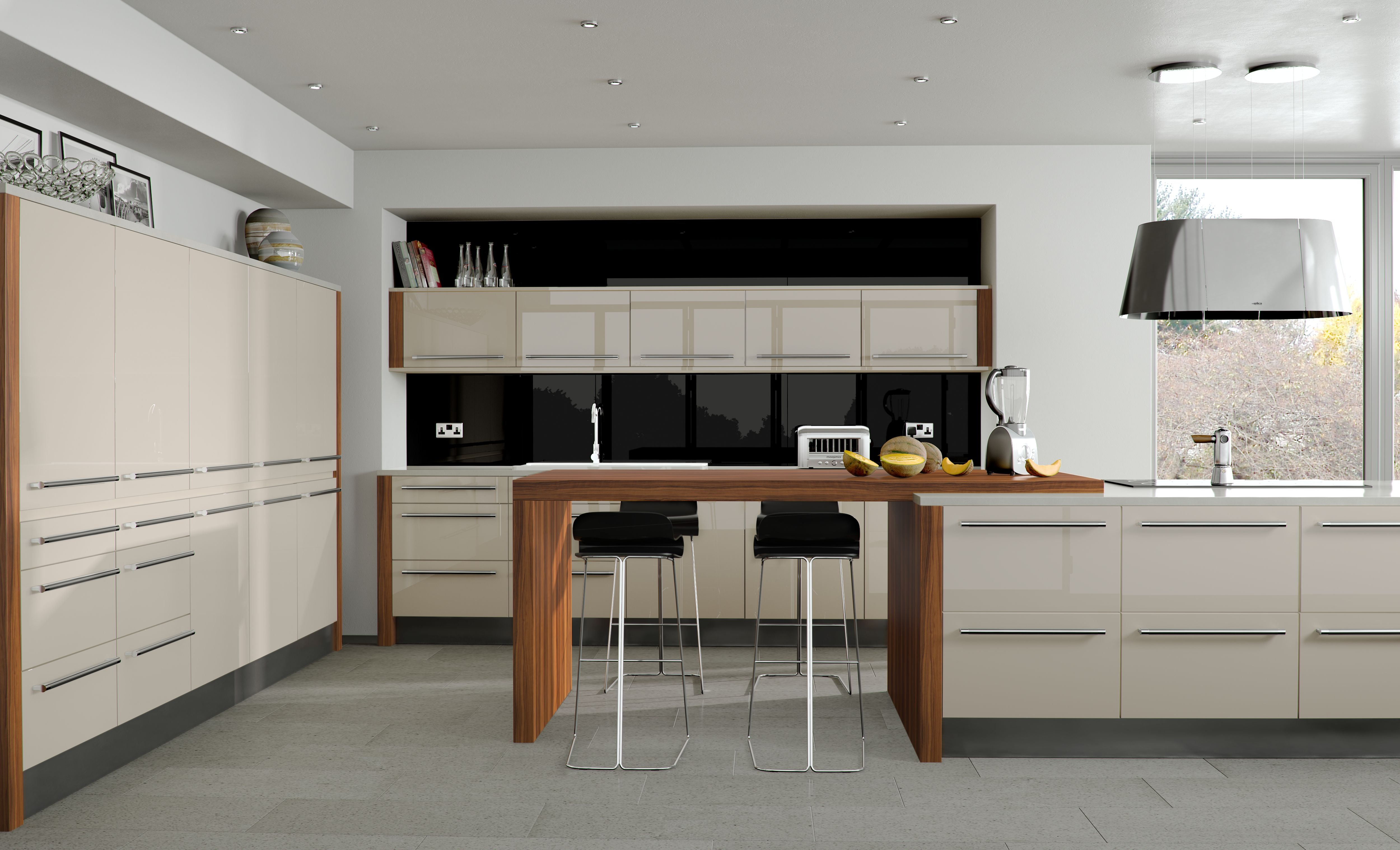 High gloss kitchen cupboards kitchen designs cape town south africa - Odyssey Acrylic Cream Gloss Fresh Colours With Fixed Stools Around The Central Island Thumbs Up Modern Kitchenswhite Kitchensbeautiful Kitchenshigh
