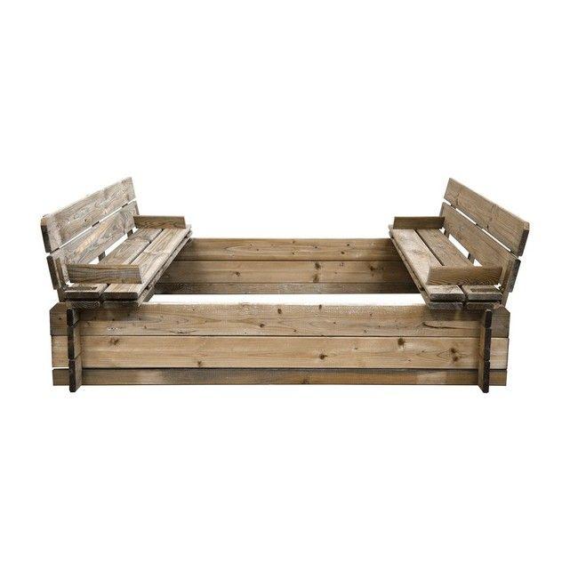Bac à sable en bois avec bancs - CEMONJARDIN, prix, avis  notation - Maisonnette En Bois Avec Bac A Sable