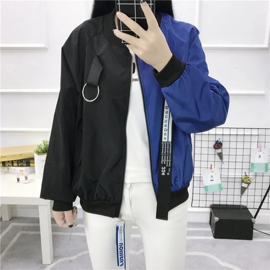 Plus Size Baseball Jacket Patchwork Korean Style Streetwear Oversize Coat Long Sleeved Zipper Harajuku Woman Overcoat Oversized Outfit Korean Fashion Korean Streetwear