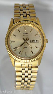 2779b39f8 Timex Men's Gold Tone Day Date Watch Gold Dial Jubilee Bracelet Retro on  eBay!