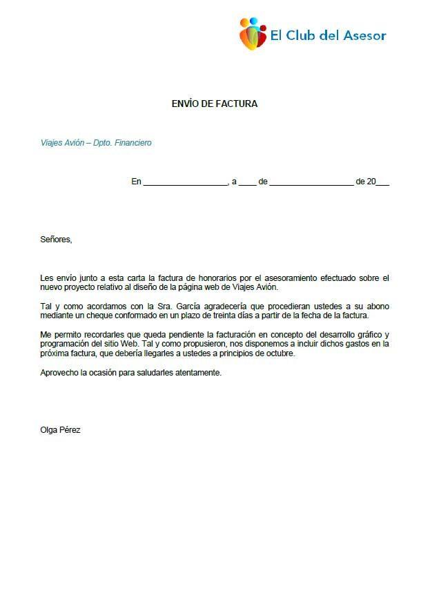 modelo de carta para envío de factura documentos de interés