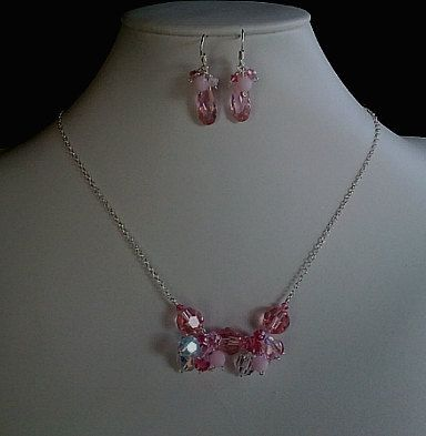 Spring Collection Pink Silver Necklace & Earrings by LaLaCrystal, $44.00