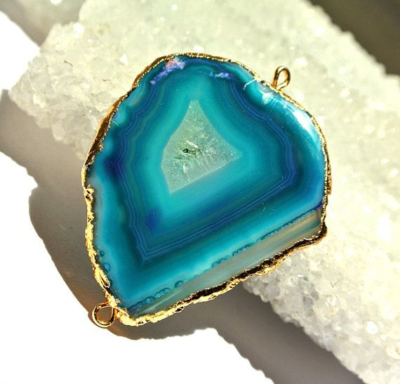 1Pc 24K Gold Electroplated Edge Teal Green by RareGemsNJewels