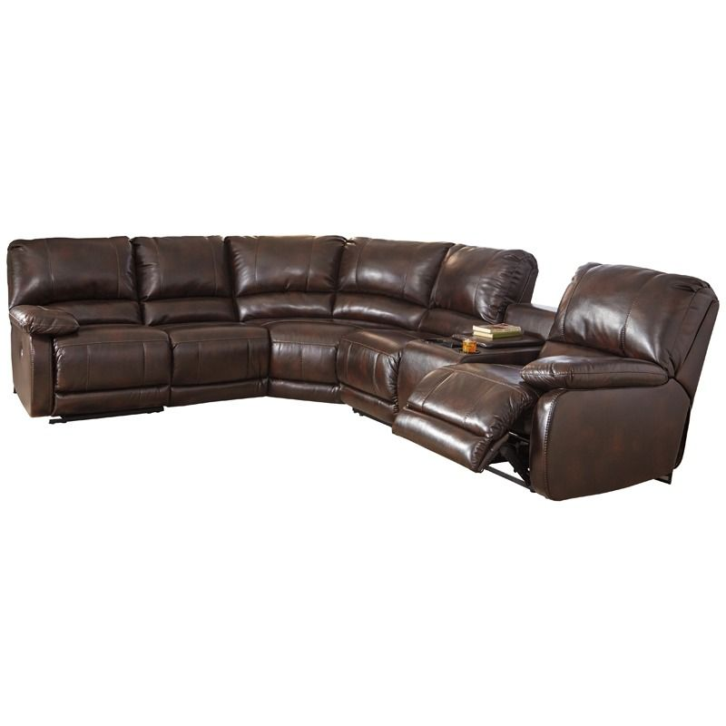 The Hallettsville Saddle 4 Piece Power Sectional With Touchpad From Ashley Furniture Offers A Touch Motion Control Pad Recline And Massage