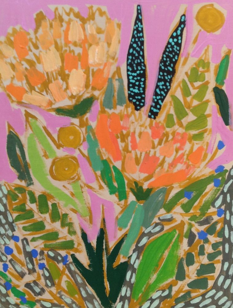Love this color palette and balance of the colors (lovely artistic style too)    - Image of 9x12 Flowers for Gabriella by Lulie Wallace for sale