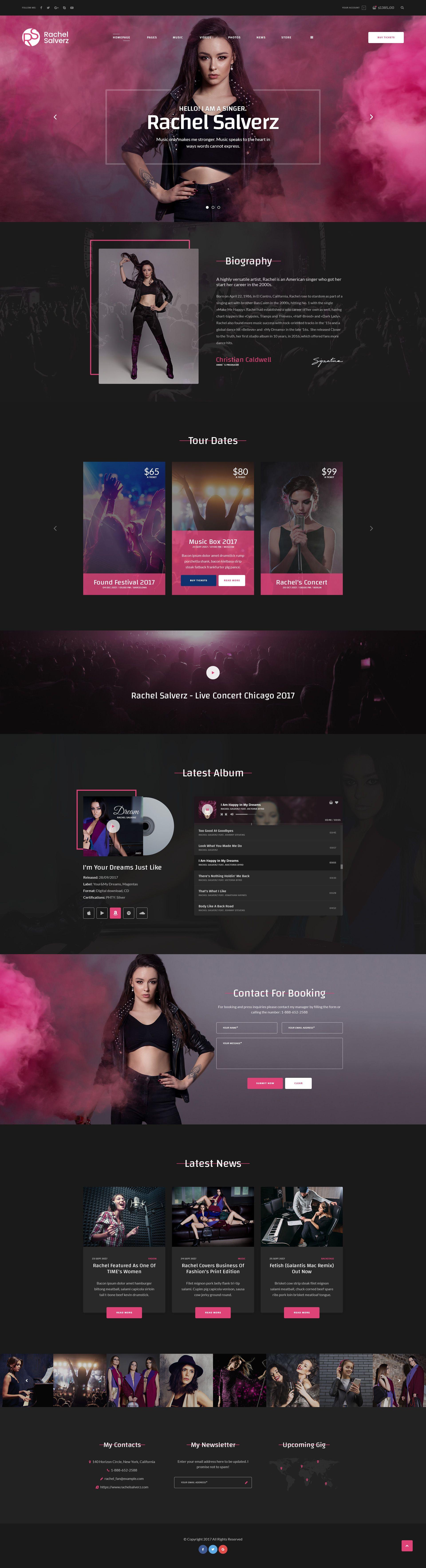 Singer Music Psd Template Musician Website Website Design Layout Mobile Web Design