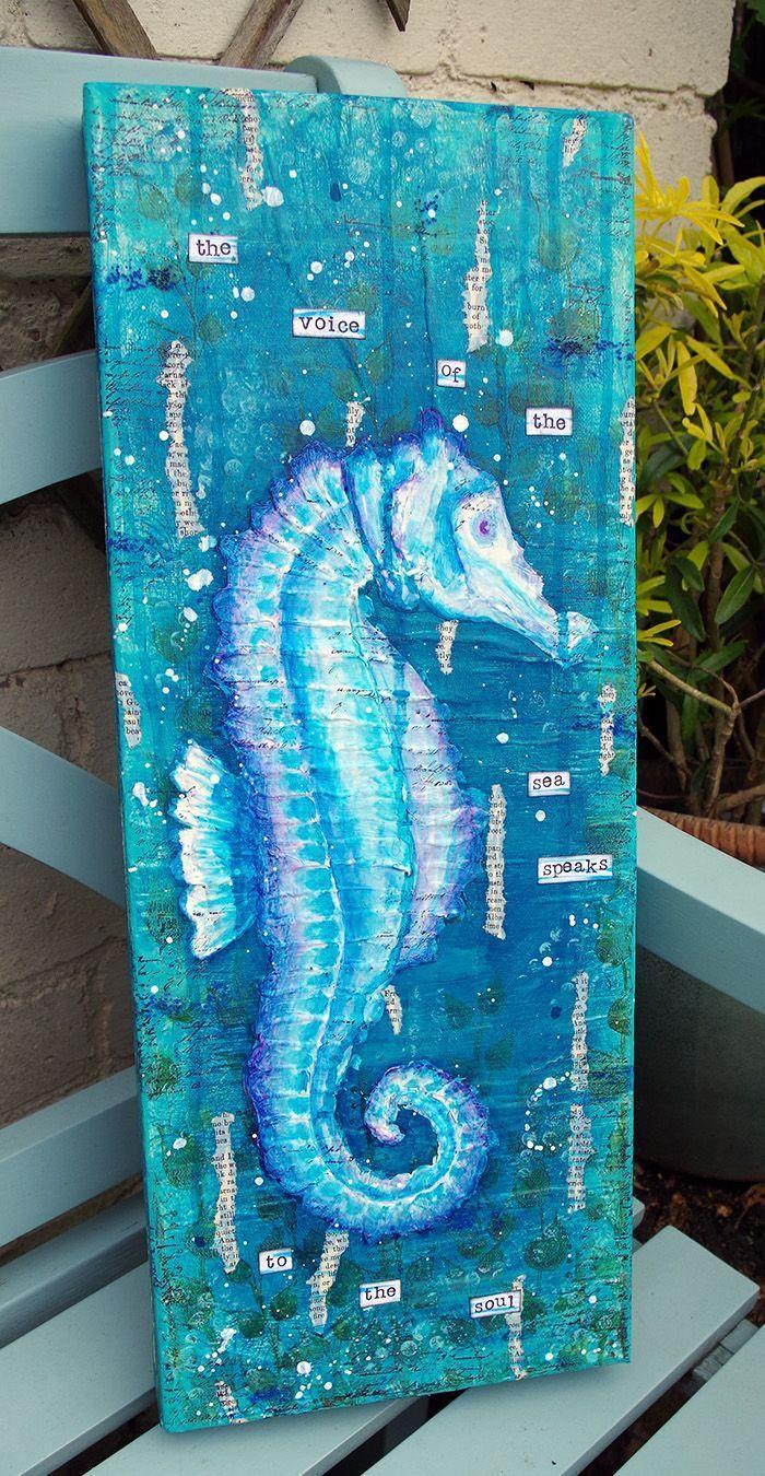 Seepferdchen Mixed Media Canvas von Michelle Webb ,  Seepferdchen Mixed Media Canvas von Michelle Webb ,