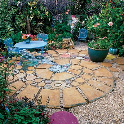 Square And Round Patio Garden Design Gardening Outside Decor Pictures Pics
