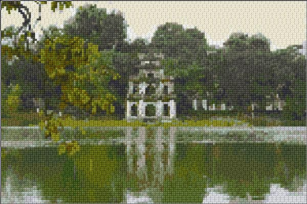 beautiful Asian building cross stitch freebie