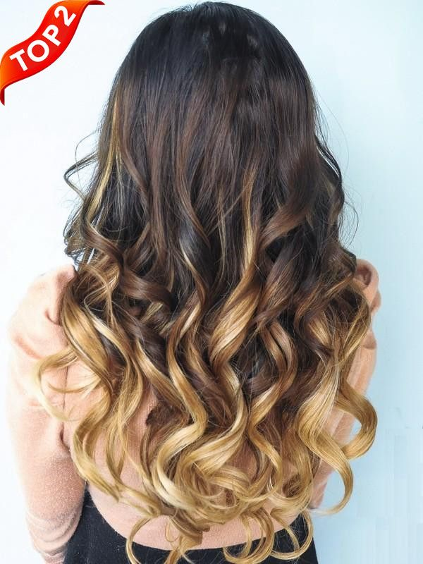 Brown Blonde Ombre Indian Remy Clip In Hair Extensions Ms053027h27