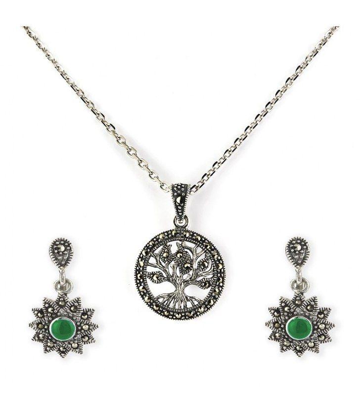 Conjunto colgante y pendientes de plata 925 árbol de la vida y piedra verde
