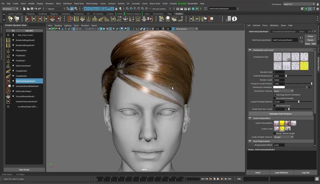 "Ornatrix Maya V2 Beta: ""Even"" Distribution Method, Hair, CGHair"