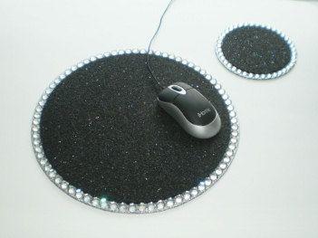 BLACK & BLING Mousepad/Coaster Set - Sparkling Black Eco Felt w/ Clear Rhinestones