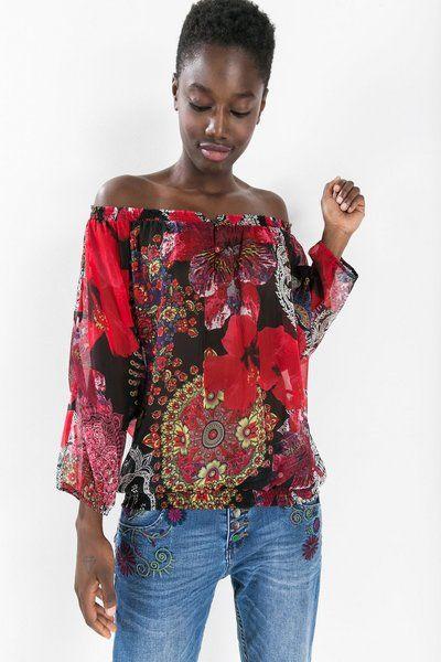 Blusa rossa con stampa floreale Desigual. Scopri la moda donna con più personalità!