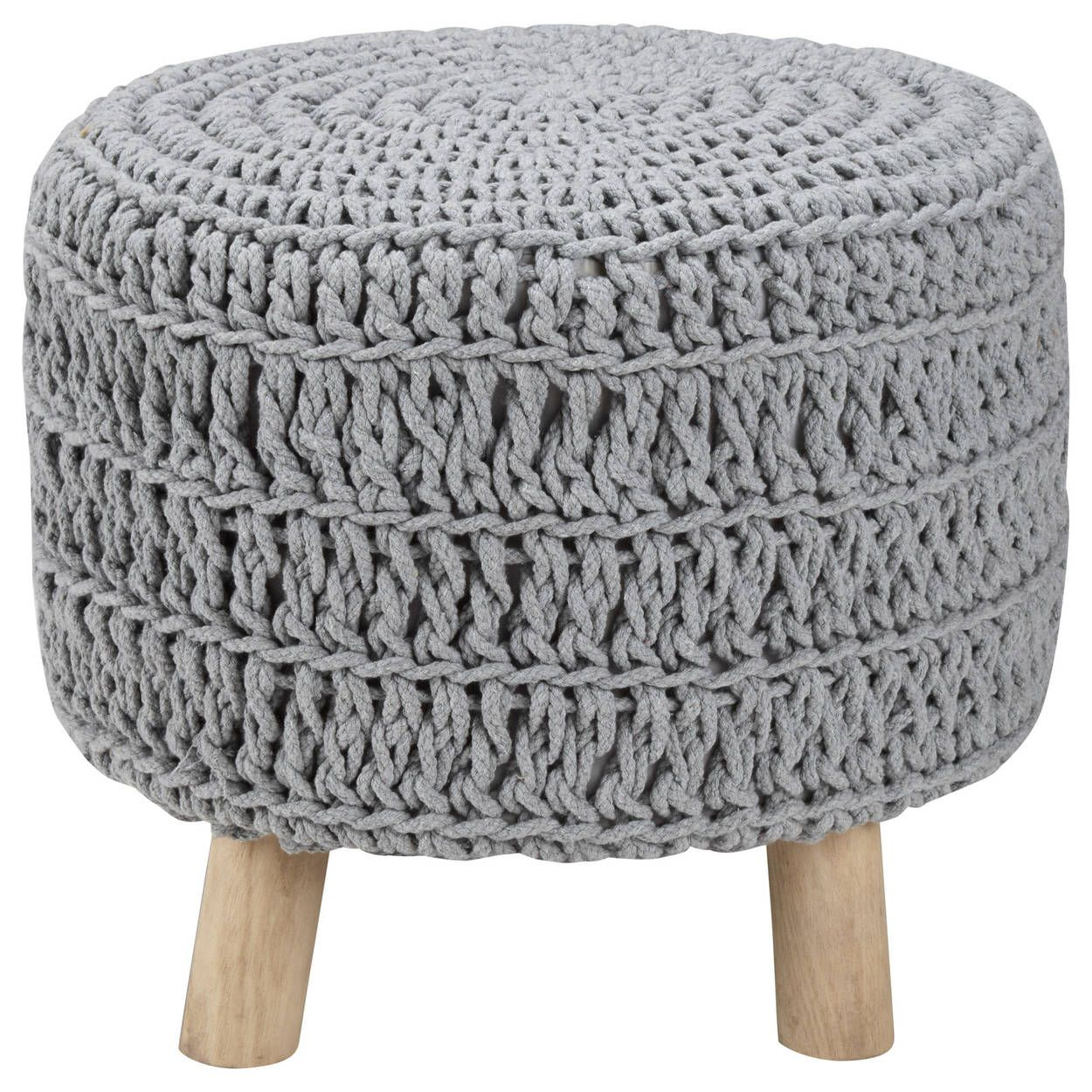 Wood And Cotton Knitted Ottoman Andlighet