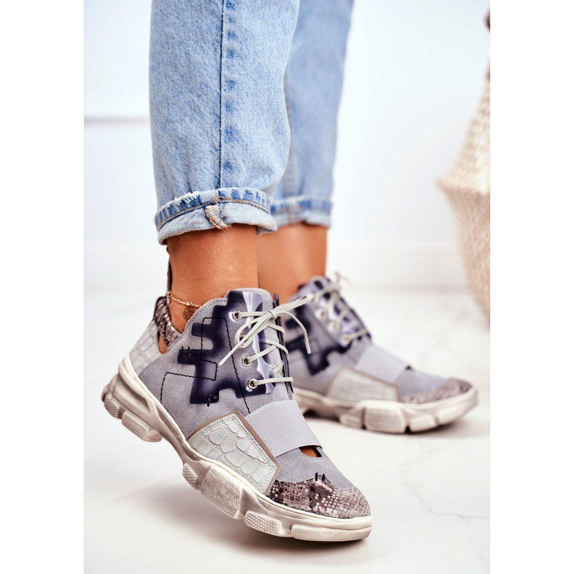Damskie Sneakersy Skorzane Maciejka 04423 13 Szare Womens Wedge Sneakers Sneakers Shoes