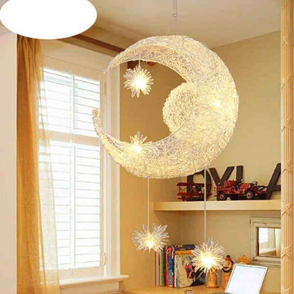 Creative Aluminum Pendant Light Moon Star Children Kid Child Bedroom Pendant Lamp Chandelier Lig Kids Room Lighting Bedroom Light Shades Star Lights On Ceiling