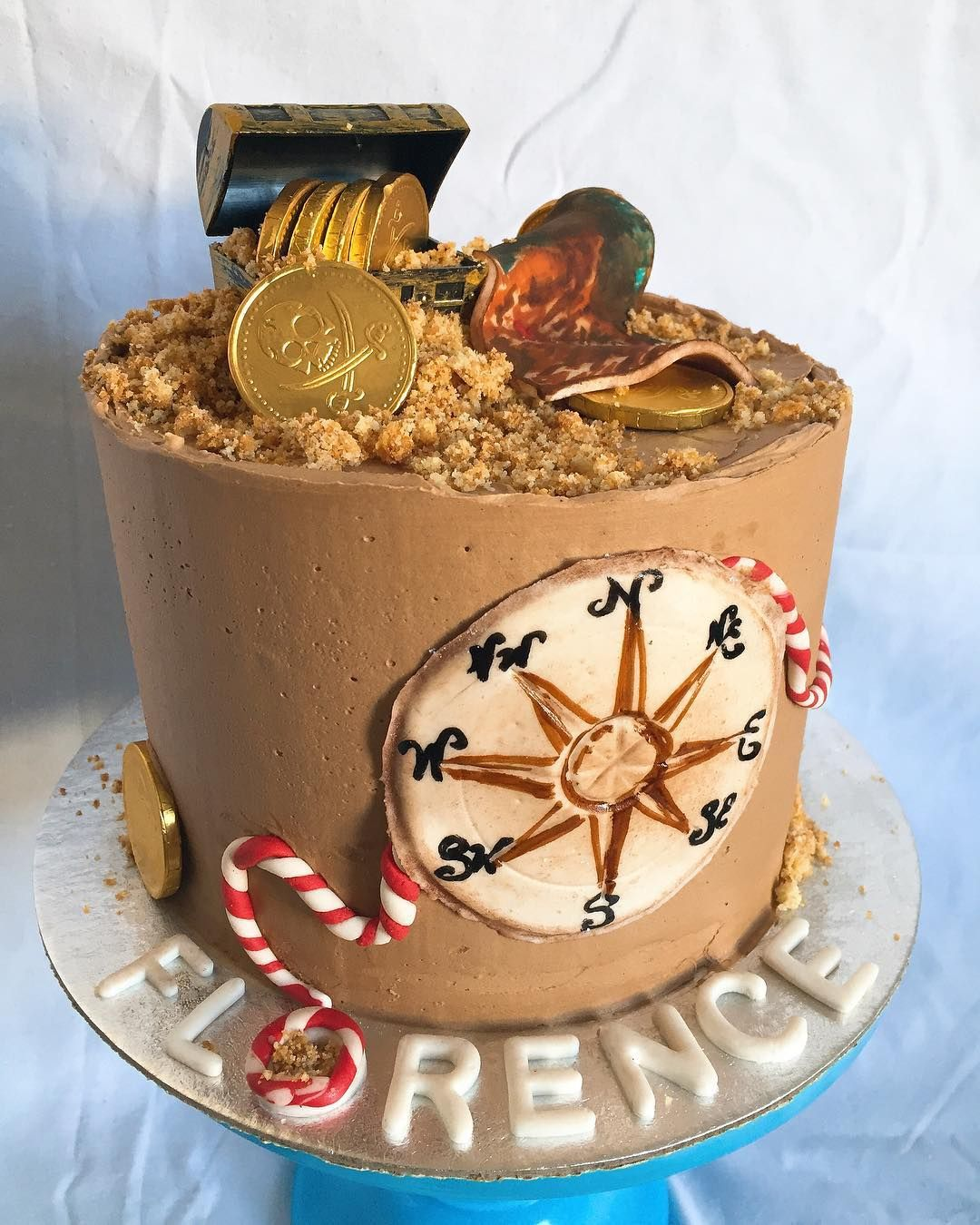 Pirate themed chocolate cake with homemade marshmallow fondant details | Den Bake Shop (@denbakeshop) • #denbakeshop #customcakes #themecakes #cakesforkids #pirateparties