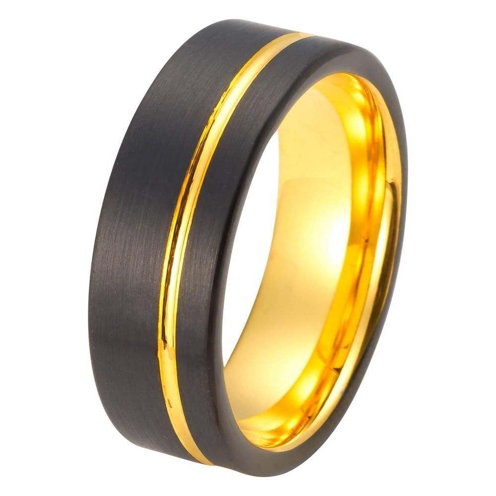 Brilliant Bijou Titanium Grooved Yellow IP-Plated 8mm Brushed /& Polished Band
