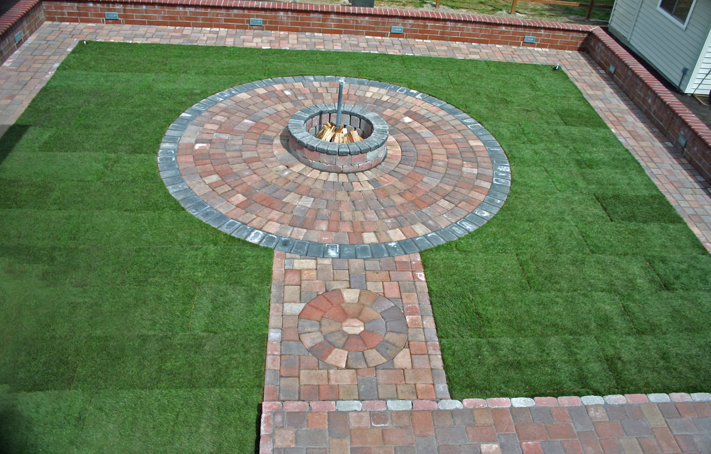 Courtyard With Rotunda Round Paver Patio Wood Burning Fire
