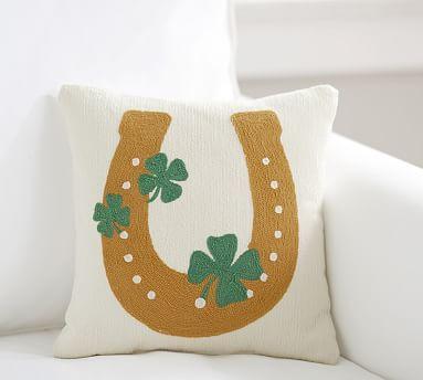 Lucky Horseshoe Crewel Pillow Pillows Throw Pillows Decorative