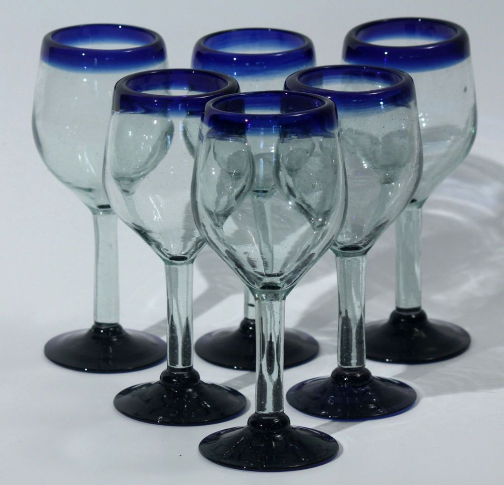 Mexican wine glasses hand made set of 6 cobalt blue rim for Hand designed wine glasses