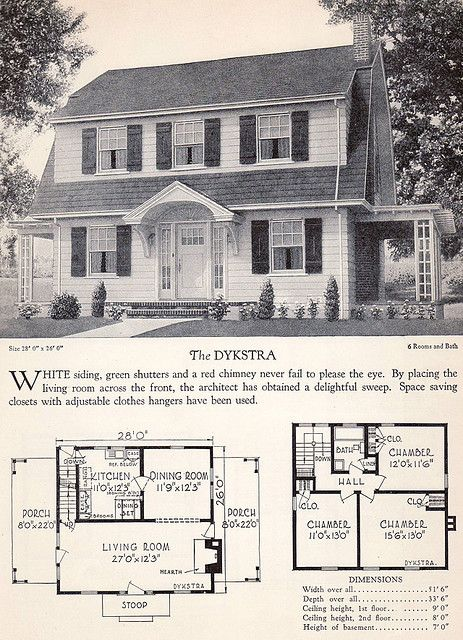 1928 Home Builders Catalog The Dykstra Vintage House Plans Vintage House House Plans