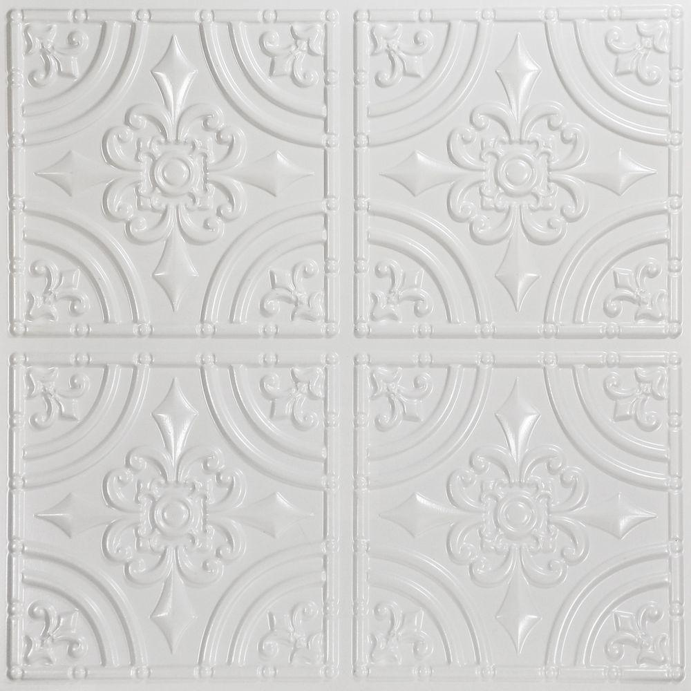 Null Wrought Iron 2 Ft X 2 Ft Pvc Lay In Or Glue Up Ceiling Panel In White Faux Tin Ceiling Faux Tin Ceiling Tiles Pvc Ceiling Tiles